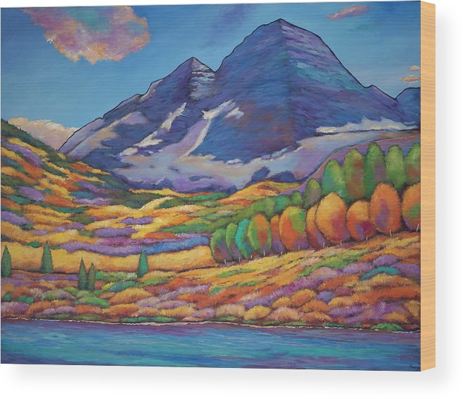 Aspen Tree Landscape Wood Print featuring the painting A Day In The Aspens by Johnathan Harris