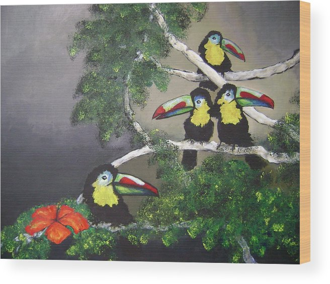 Birds Wood Print featuring the painting A New Day by Laura Johnson