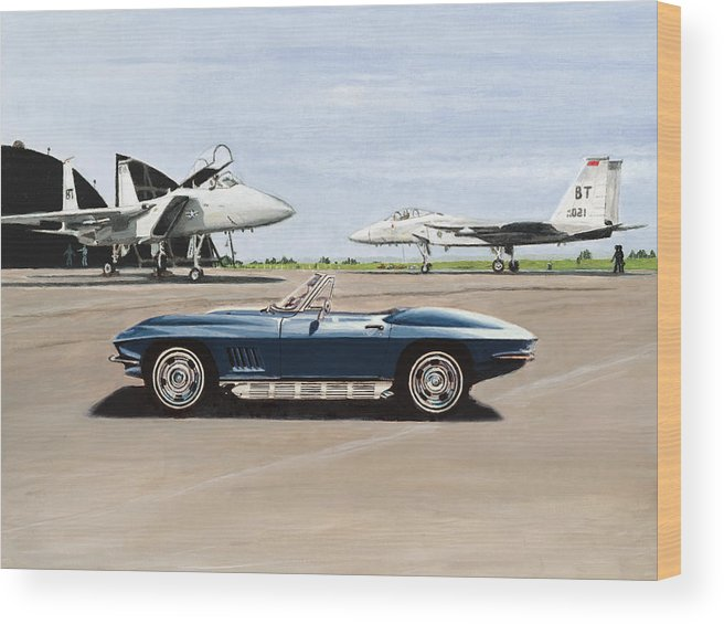 Corvette Wood Print featuring the painting A Pilots Dream by Richard Herron