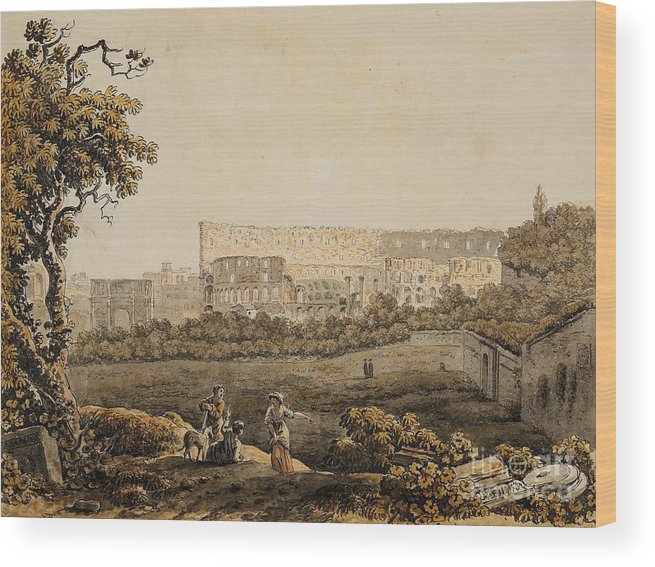 Carlo Labruzzi Wood Print featuring the painting A Roman Landscape With The Colosseum And Figural Staffage by Celestial Images