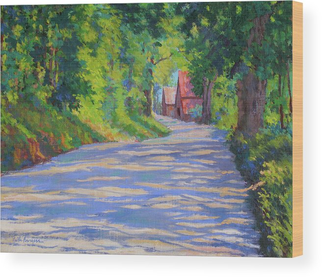 Landscape Wood Print featuring the painting A Summer Road by Keith Burgess