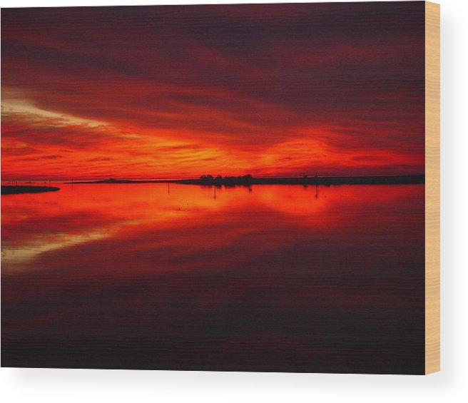 Sunset Wood Print featuring the photograph A Sunset Kiss -debbie-may by Debbie May