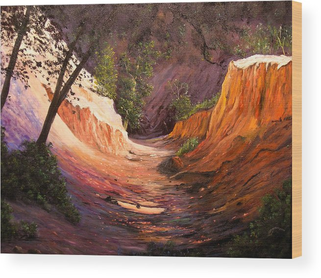A Painting A Day Wood Print featuring the painting A Walk Through The Canyon by Connie Tom