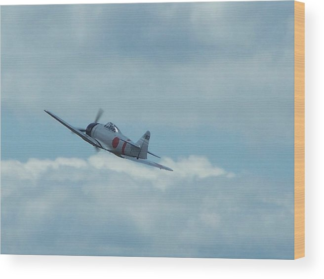 Japanese Zero Wood Print featuring the photograph A6m Zero by Gene Ritchhart