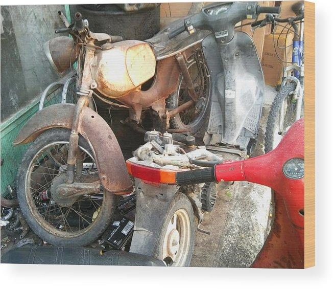 Mototbike Wood Print featuring the photograph Abandoned Motorbike by Heather Lennox