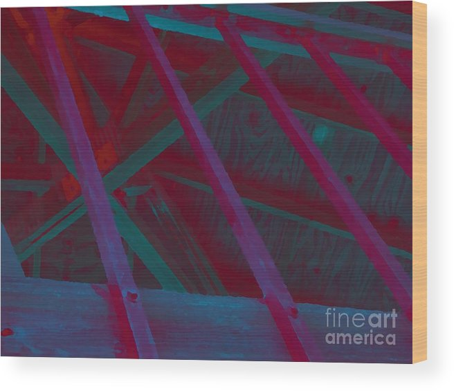 Abstract Wood Print featuring the digital art Abstract Line by John Bichler