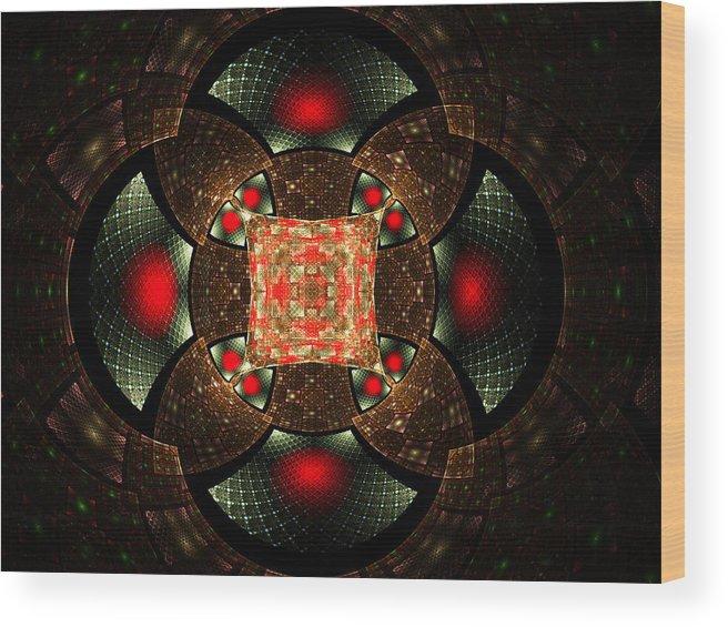 Elena Riim Wood Print featuring the digital art Abstract Mandala 2 by Elena Riim