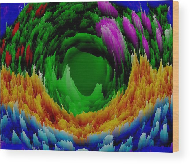 Sky.sea.moving.colors.blue.green.lilac.red.orange.abstract. Wood Print featuring the digital art Abstract. Wind. Flowers. Dizziness by Dr Loifer Vladimir