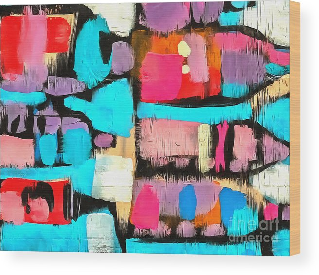 Abstract Wood Print featuring the painting Abstract Wine Bottles Blue Red by Edward Fielding