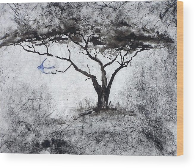 Landscape Wood Print featuring the painting Acasia Tree by Ilona Petzer