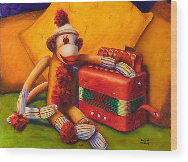 Children Wood Print featuring the painting Accordion by Shannon Grissom