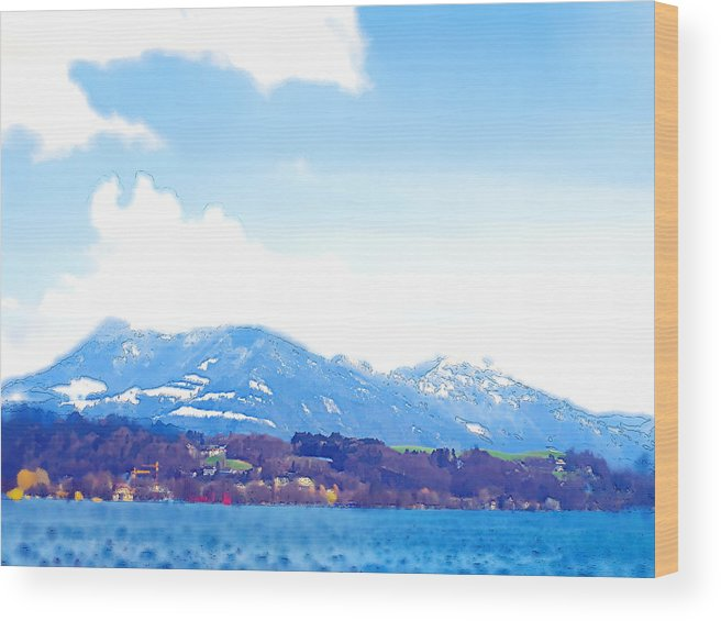 Landscape Wood Print featuring the photograph Across The Lake by Chuck Shafer