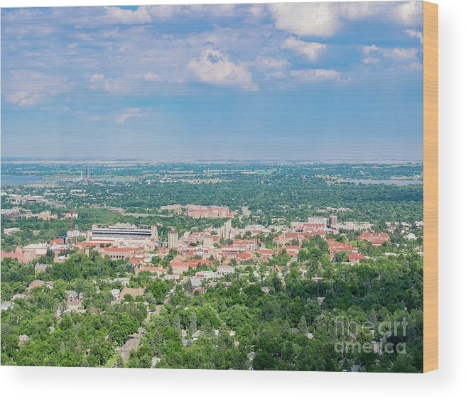 Colorado Wood Print featuring the photograph Aerial View Of The Beautiful University Of Colorado Boulder by Chon Kit Leong