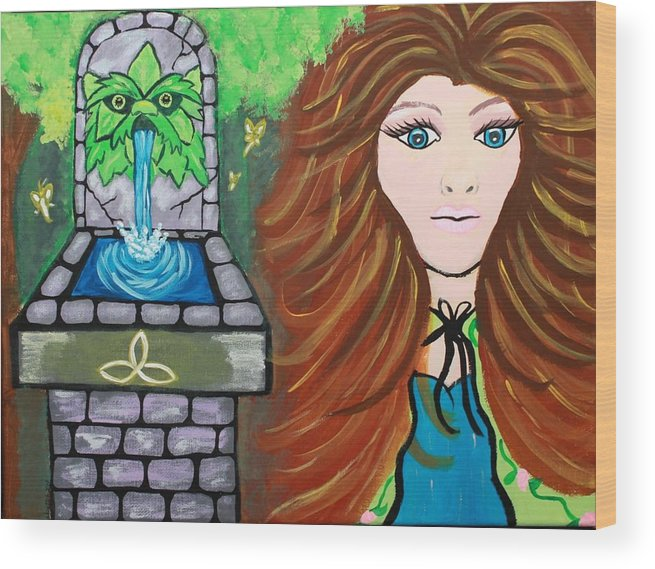 Irish Goddess Wood Print featuring the painting Aermid by Suzy Marie Inman