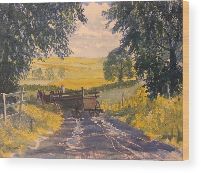 Glenn Marshall Yorkshire Artist Wood Print featuring the painting After Rain On The Wolds Way by Glenn Marshall