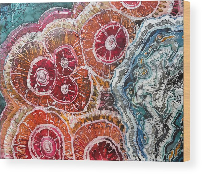 Agates Wood Print featuring the painting Agate Inspiration - 16a by Sue Duda