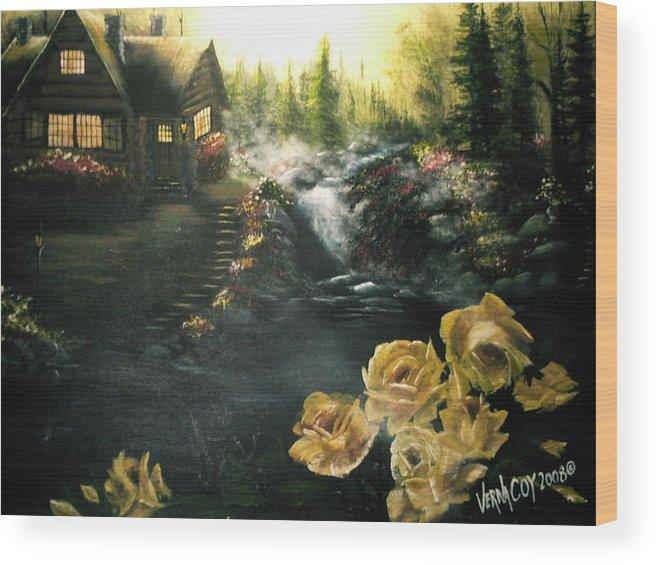 Alaska Alaskan Summer Yellow Roses Cabin Scenery Wood Print featuring the painting Alaskan Summer Day by Verna Coy
