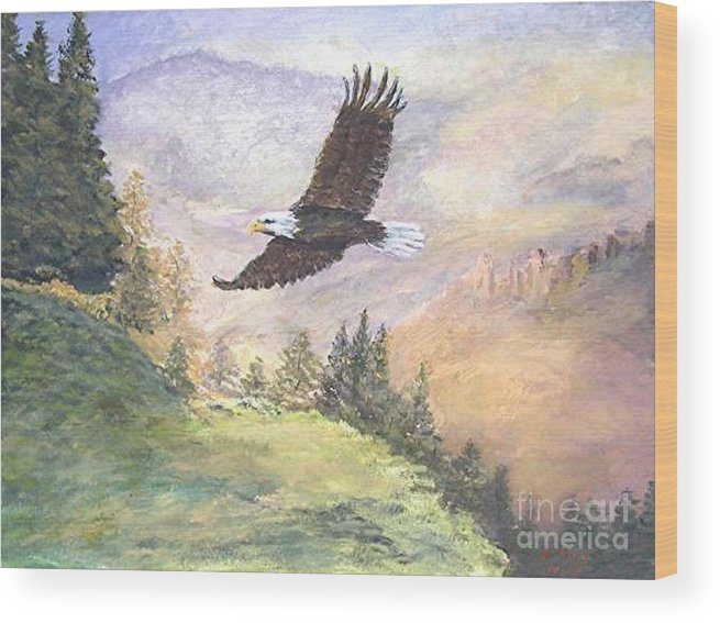 Landscape Painting Wood Print featuring the painting American Bald Eagle by Nicholas Minniti