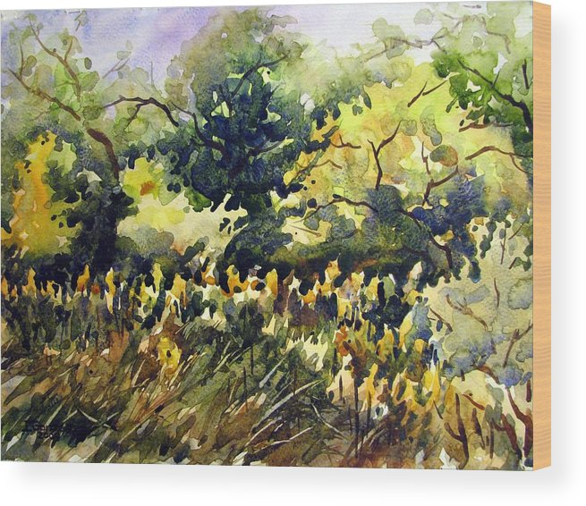 Watercolor Wood Print featuring the painting Amongst The Goldenrods by Chito Gonzaga