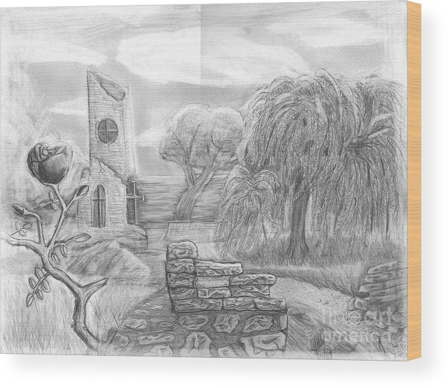Landscape Wood Print featuring the drawing Ancient Church by Katie Alfonsi