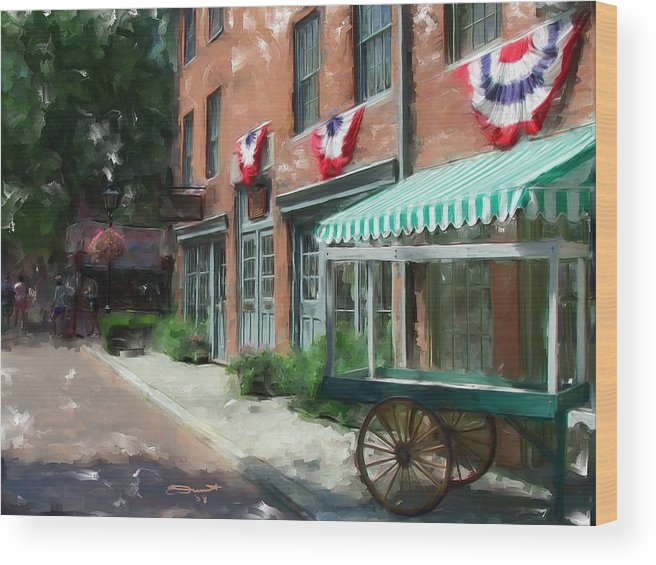 Painting Street Oil New England Market Tourist Vendor Impressionism Massachusetts Antiques Wood Print featuring the painting Another Day's End by Eddie Durrett