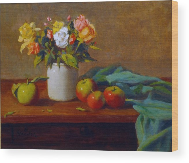 Still Life Alla Prima Wood Print featuring the painting Apples And Flowers by David Olander