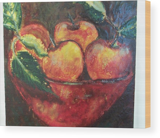 Still Life Wood Print featuring the painting Apples by Karla Phlypo-Price