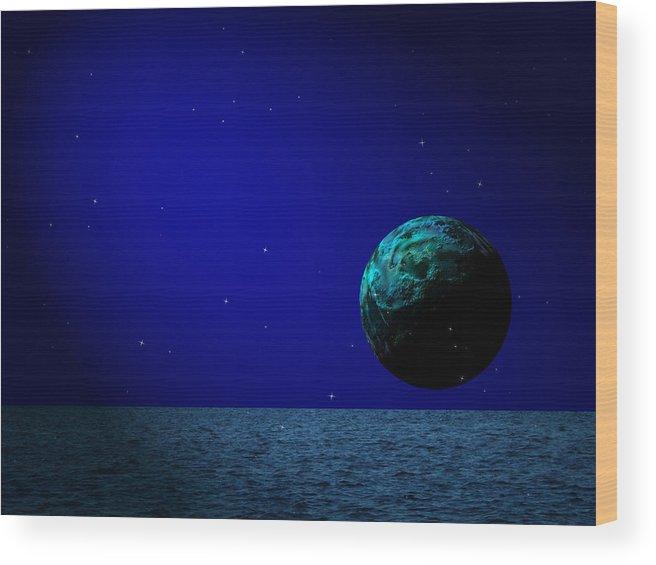 Surreal Wood Print featuring the digital art Aqua Luna And The Midnight Sun by Juana Maria Garcia-Domenech