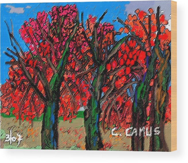 Art Wood Print featuring the painting Arboles - Figuras by Carlos Camus