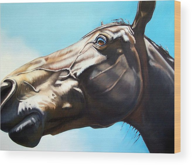 Horse Wood Print featuring the painting Arc by Steve Messenger