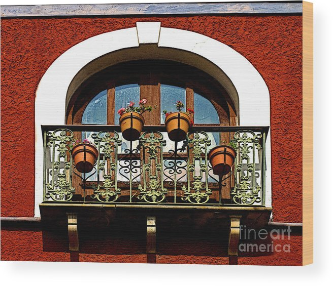 Darian Day Wood Print featuring the photograph Arched Window With Flowers by Mexicolors Art Photography