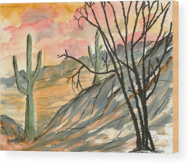 Drawing Wood Print featuring the painting Arizona Evening Southwestern Landscape Painting Poster Print by Derek Mccrea