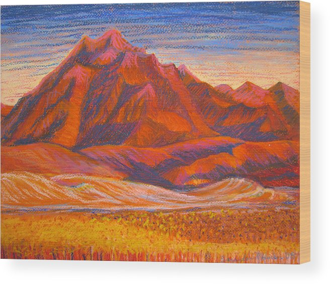 Arizona Wood Print featuring the painting Arizona Mountains At Sunset by Art Nomad Sandra Hansen