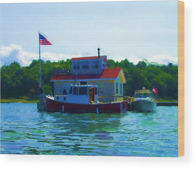 Our Bronx New York City House Boat Wood Print featuring the painting As Seen On National American Express Tv Commerica by Jonathan Galente