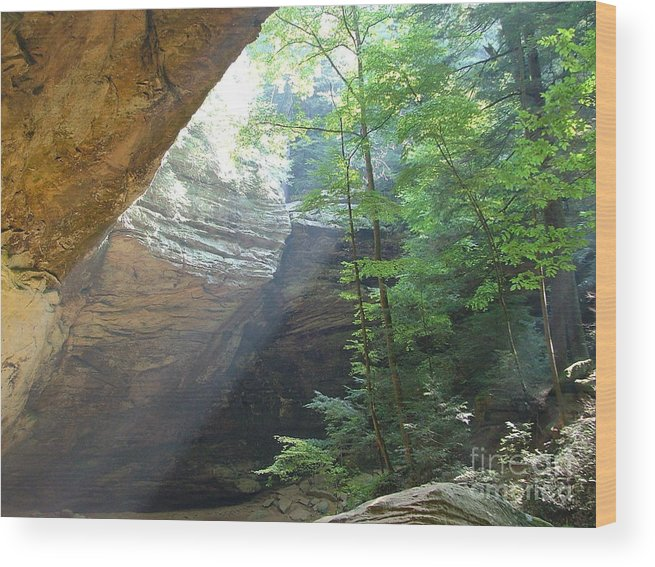 Photograph Wood Print featuring the photograph Ash Cave by Mindy Newman
