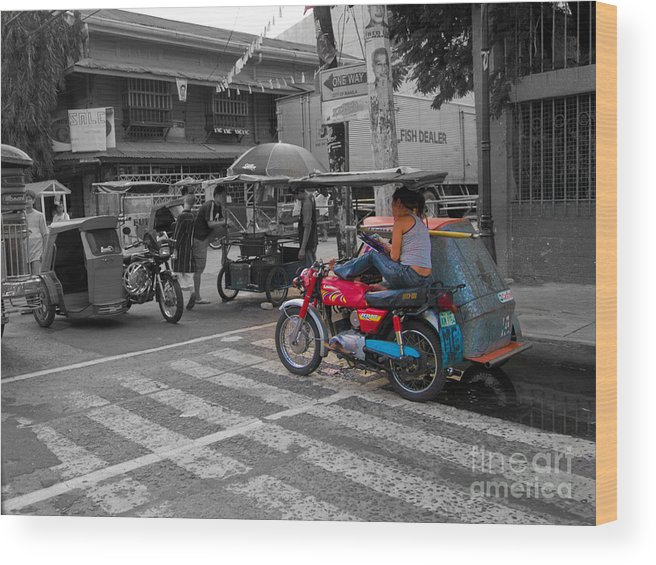 Asia Philippines Motorcycle Sidecar Taxi 6282086sc Wood Print