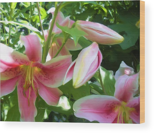 Floral Wood Print featuring the painting Asian Lilies Unfolding by Liz Evensen