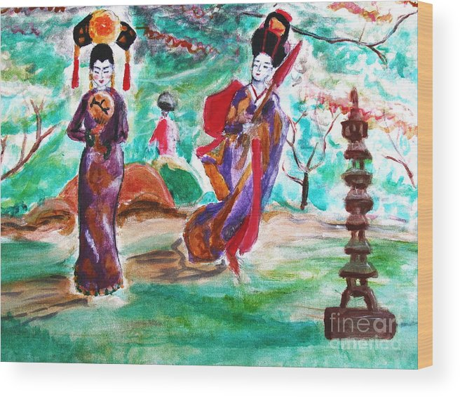 Asian Wood Print featuring the painting Asian Lovelies by Stanley Morganstein