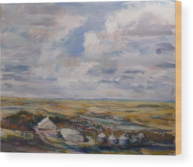 Ranch Wood Print featuring the painting Abbey Farm by Helen Campbell