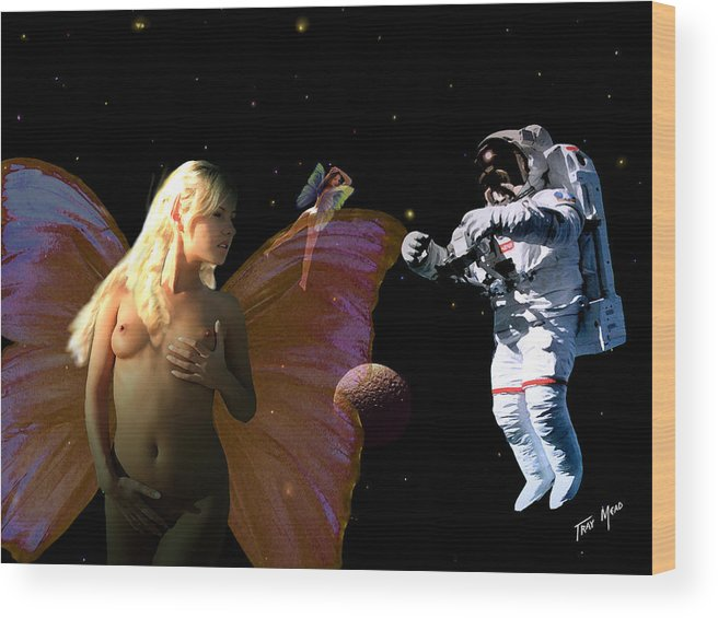 Space Wood Print featuring the painting Astronaut And The Fairies by Tray Mead
