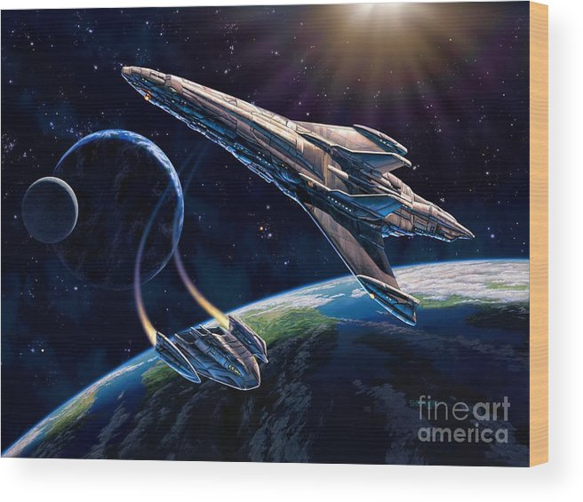 Space Ship Wood Print featuring the painting At Corealla by Stu Shepherd