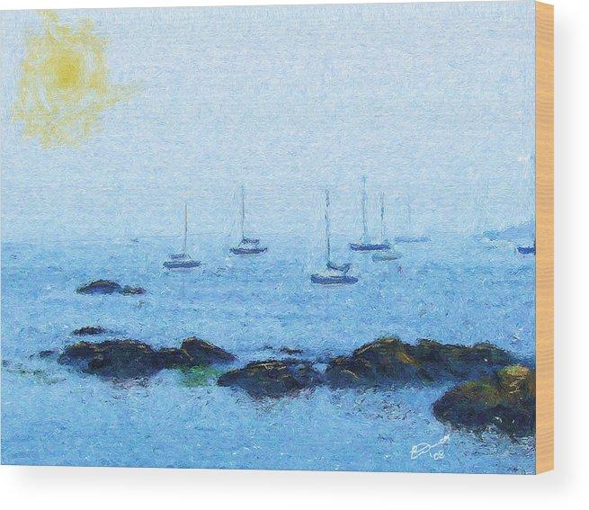 Sail Sailing Harbor Ocean Sea Marblehead Mass Bay Wood Print featuring the painting Attente Pour La Brise by Eddie Durrett