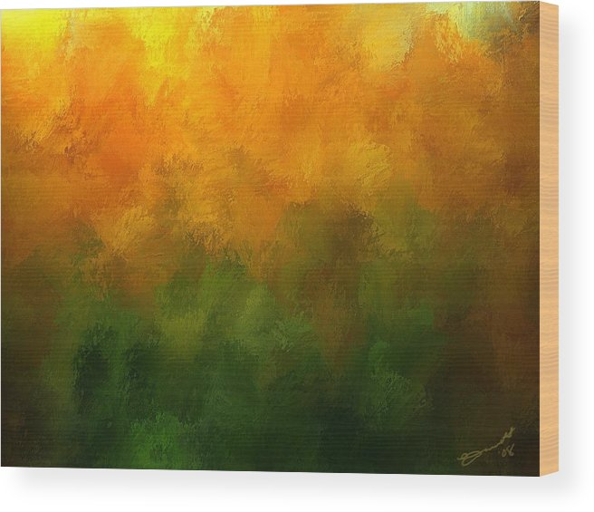 Orange Fall Autumn Yellow Green Pumpkin Trees Forest Light Sun Season Mood Transition Wood Print featuring the painting Autumn Fire New England by Eddie Durrett