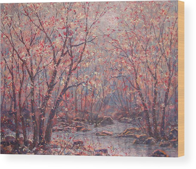 Landscape Wood Print featuring the painting Autumn Harmony. by Leonard Holland