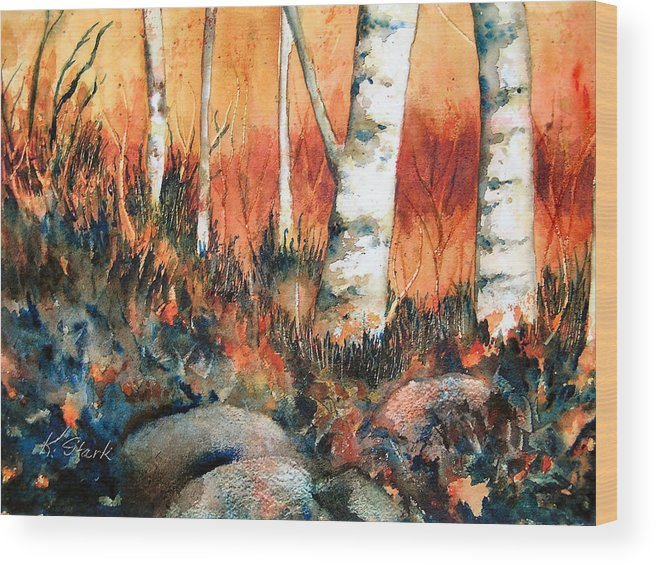 Landscape Wood Print featuring the painting Autumn by Karen Stark