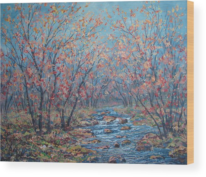 Landscape Wood Print featuring the painting Autumn Serenity by Leonard Holland