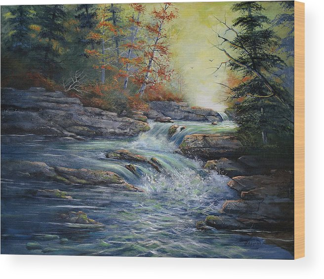 Landscape Wood Print featuring the painting Autumn Stream by Brooke Lyman