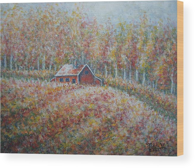 Landscape Wood Print featuring the painting Autumn Whisper. by Natalie Holland