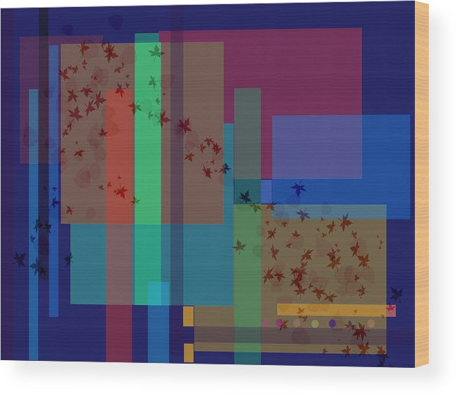 Autumn Wood Print featuring the digital art Autumn Wind by Helene Champaloux-Saraswati
