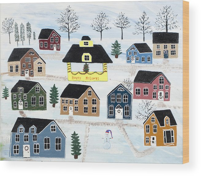 Christmas Wood Print featuring the painting Awaiting Christmas In Glennawexton Park by Mike Filippello